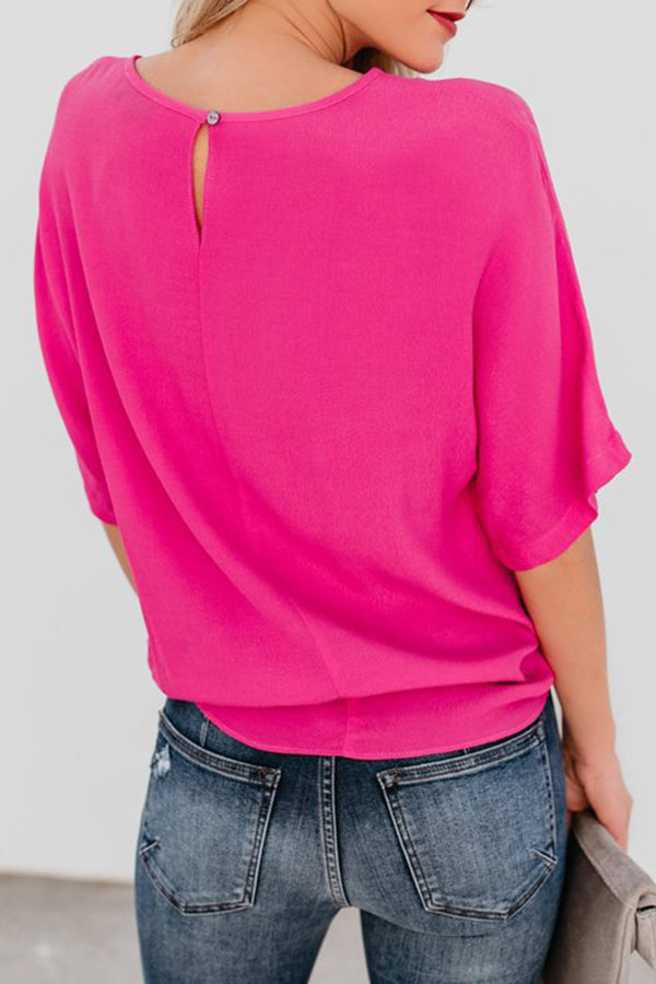 Solid Color Bandage Casual Short Sleeve Top