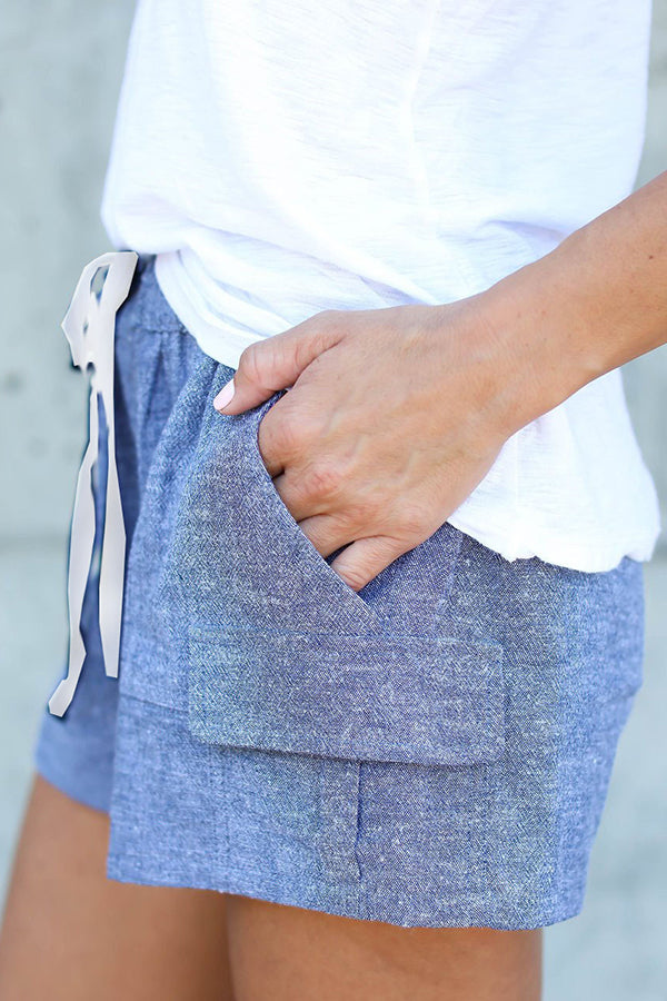 Pocket Solid Color Casual Shorts