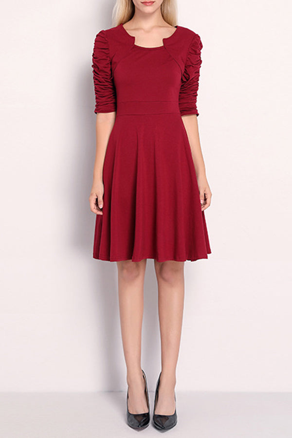 High Waist Half Sleeve Solid Color Party Skater Dress
