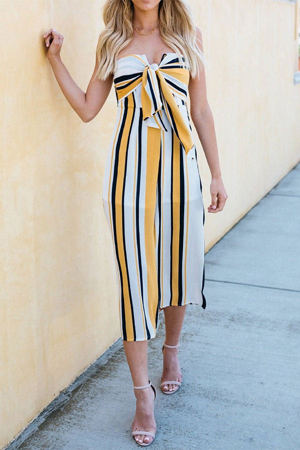 Off The Shoulder Mixed Color Bowknot Sleeveless Stripe Jumpsuit