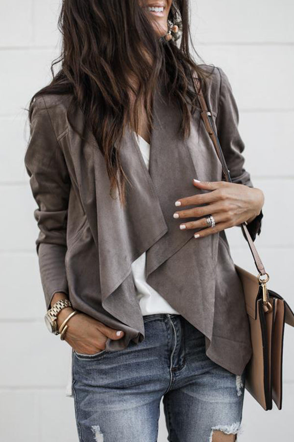 Turndown Collar Irregular Hem Long Sleeve Casual Jacket