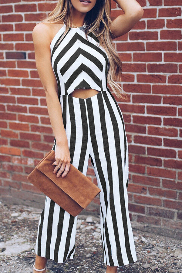 Sleeveless Stripe Crop Open Back Jumpsuit