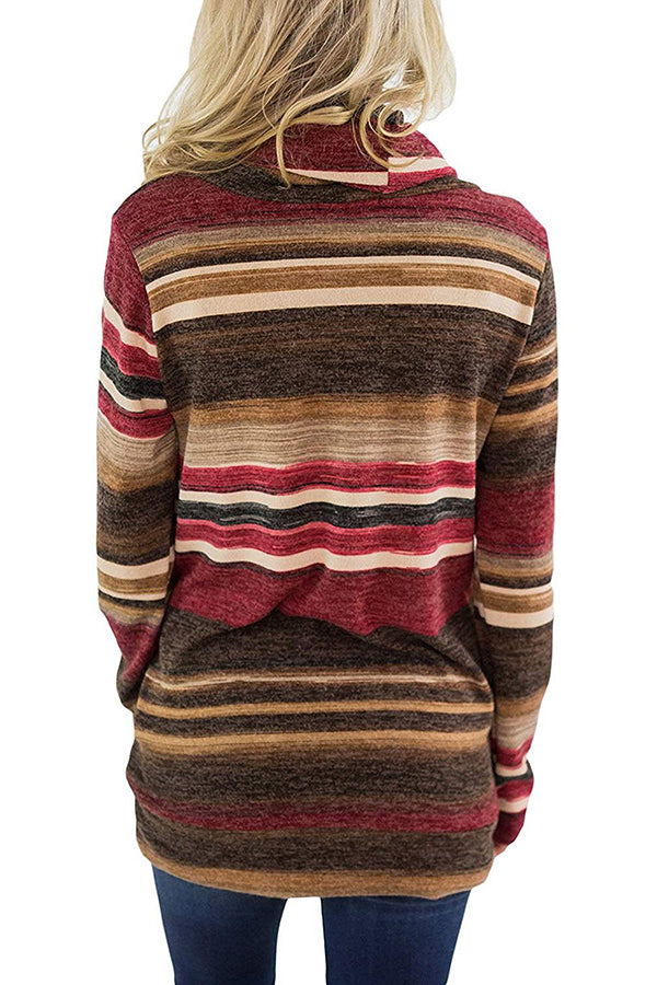 Cowl Neck Rainbow Stripe Long Sleeve Hoodie