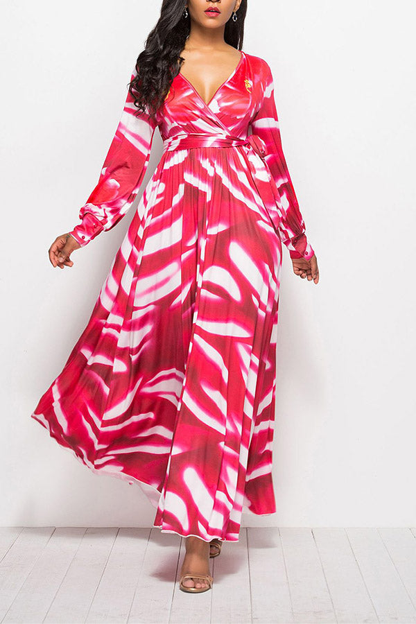 V Neck Long Sleeve Printed Dress