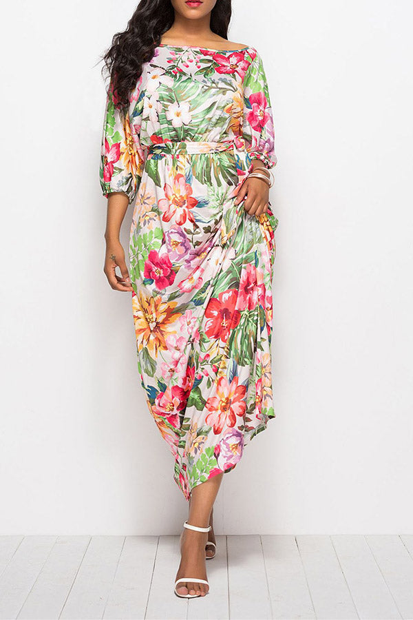 Three Quarter Sleeve Printed High Waist Dress