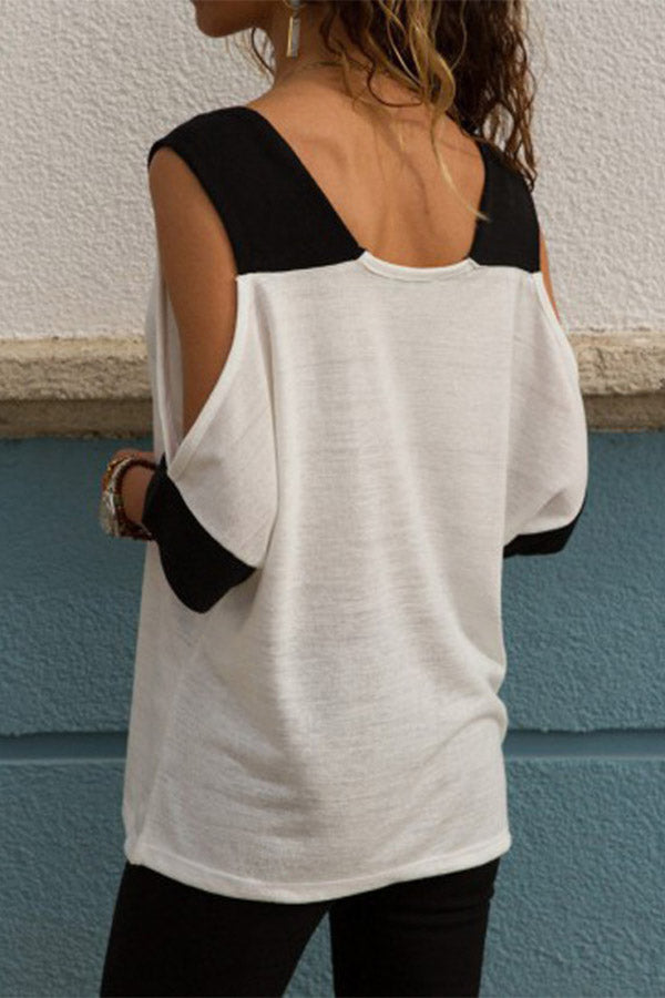 Mixed Color V Neck Half Sleeve Off The Shoulder Top