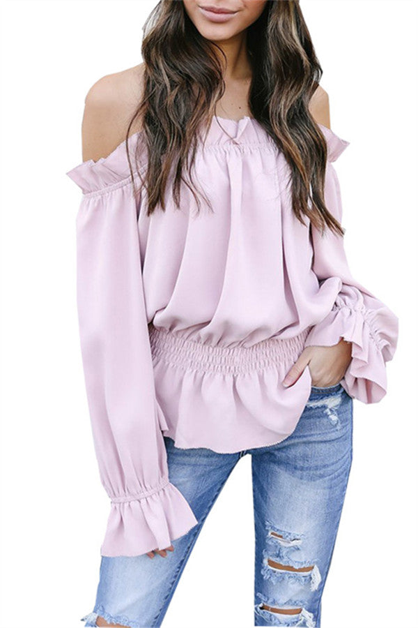 Flared Sleeve Off the Shoulder Fungus Edge Top