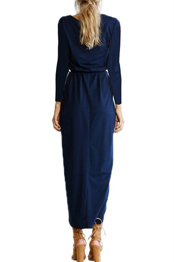 High Slit Long Sleeve Belted Maxi Dress