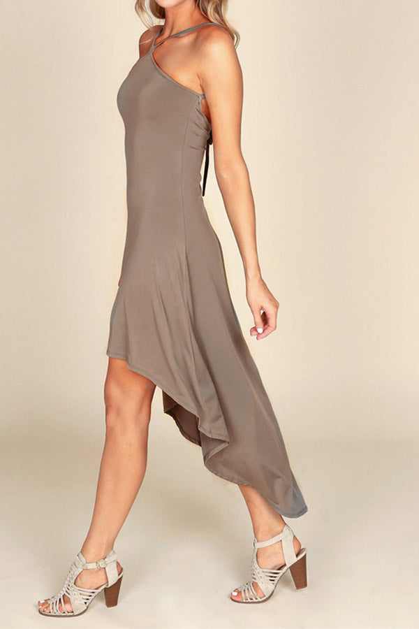 Sleeveless Solid Color Irregular Hem Halter Dress