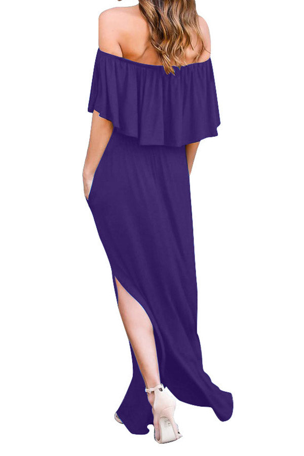 Off The Shoulder Ruffle Solid Color Side Slit Dress