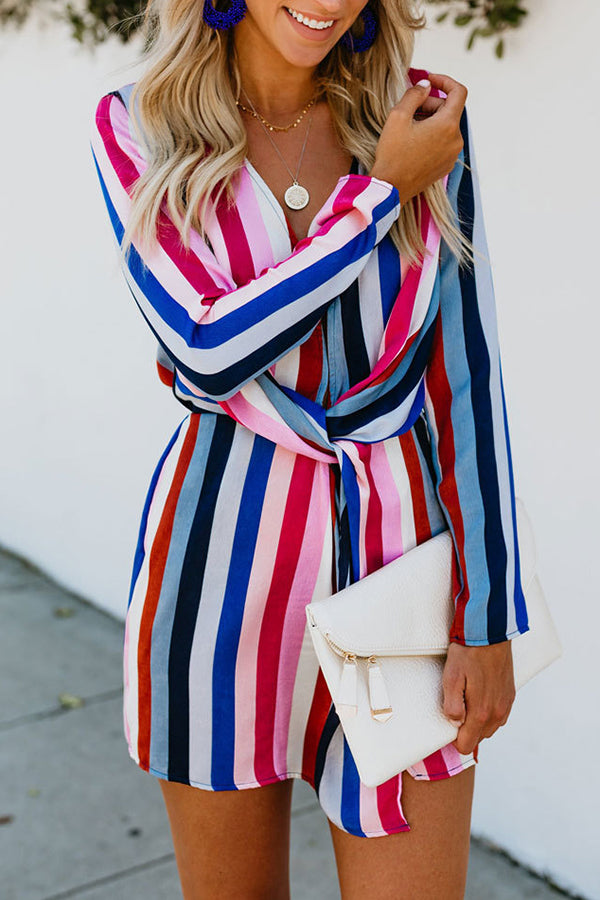 V-Neck Long Sleeve Rainbow Stripe Mini Dress