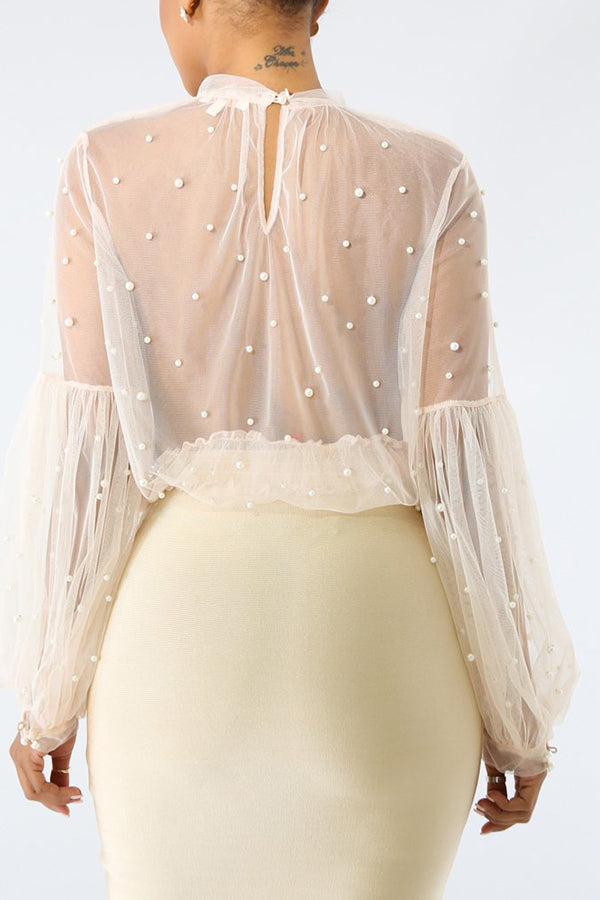 Solid Color Pearl Puff Sleeve Faux Two Pieces