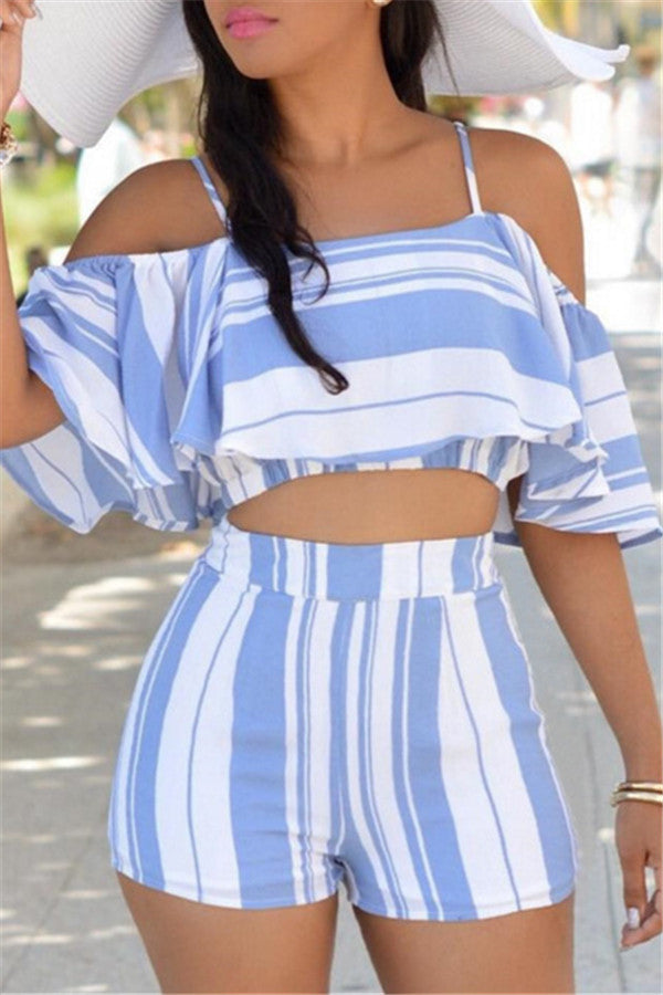 Stripe Print Off the Shoulder Ruffled Top & Shorts