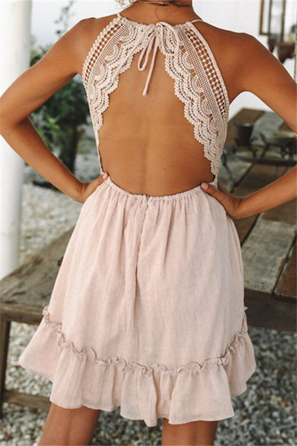 Open Back Lace Panel Sleeveless Mini Dress