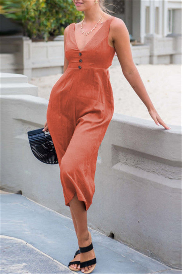 V Neck Open Back Sleeveless Jumpsuit