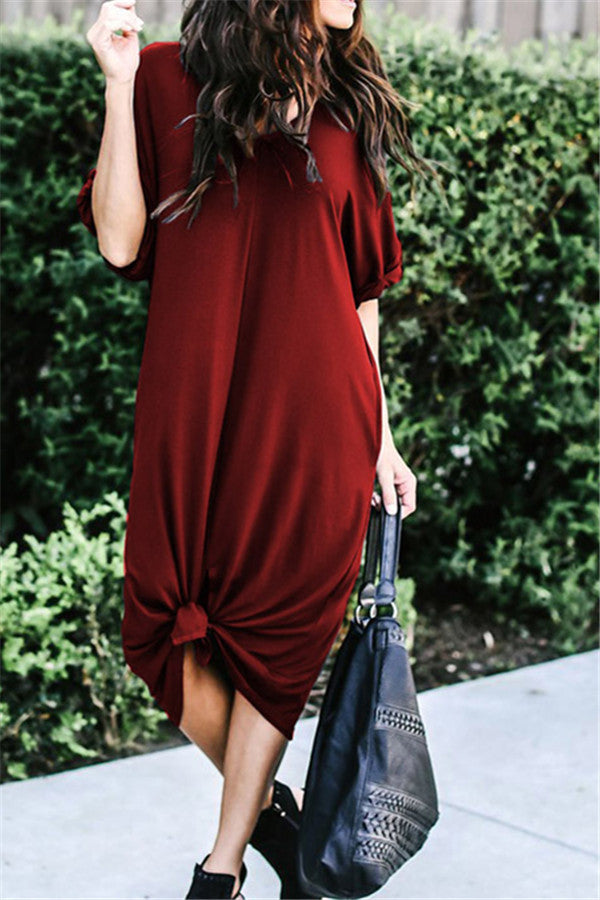 V Neck Short Sleeve Pocket Casual Dress