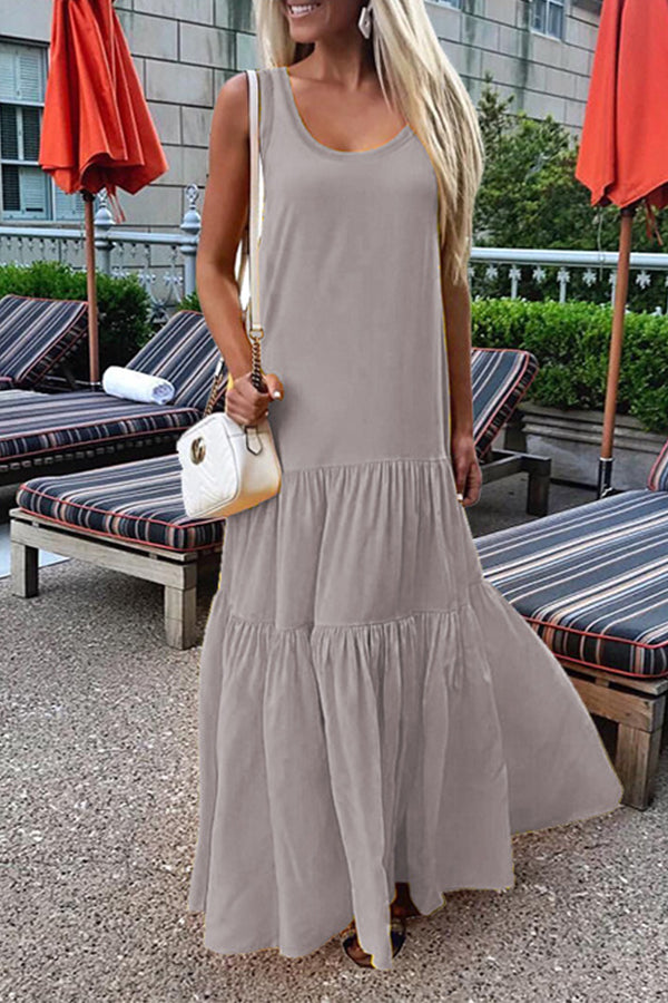Sleeveless Fold Solid Color Maxi Dress