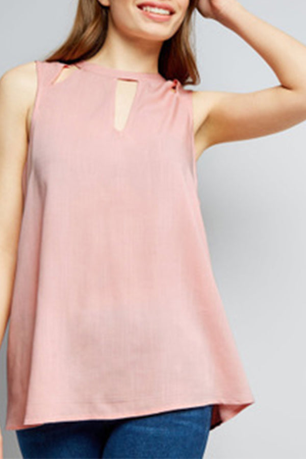 Hollow Out Solid Color Sleeveless Top