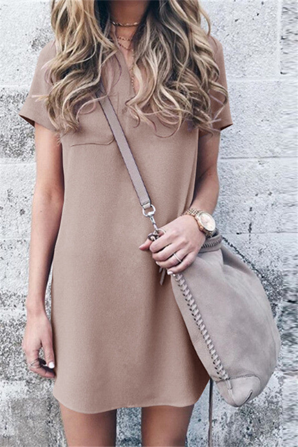 Solid Color Short Sleeve Casual Mini Dress