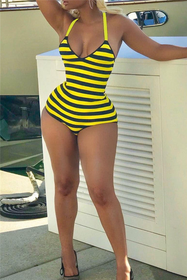 Criss Cross Back Striped One Piece Swimwear