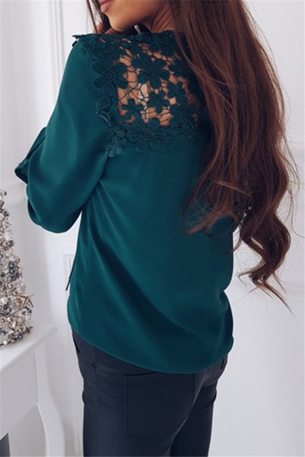 Lace Panel Flare Sleeve Chiffon Blouse