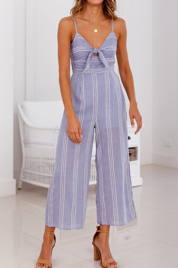 Stripe Print Sleeveless Jumpsuits With Bowknot