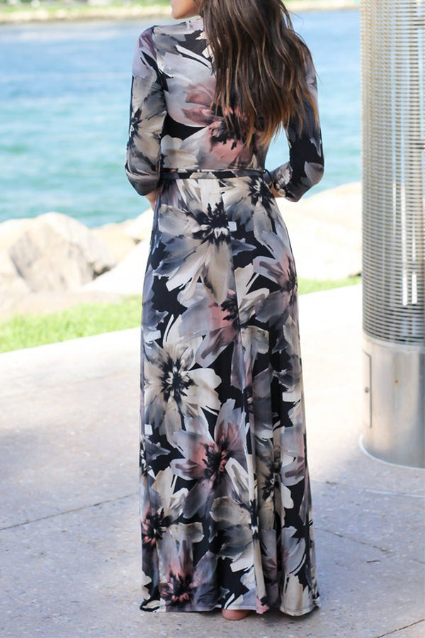 Mixed Color Flower Printed V Neck Maxi Dress