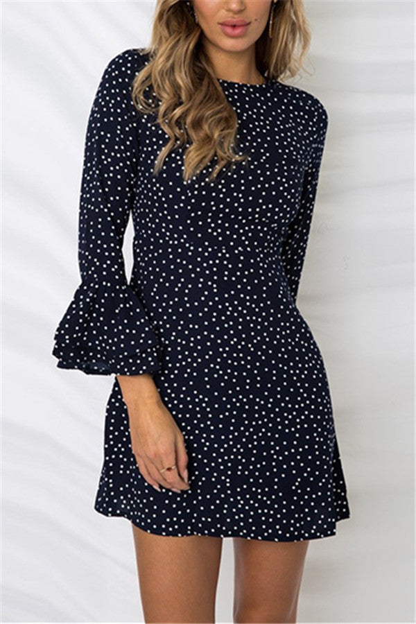 Polka Dot Flare Sleeve Casual Mini Dress