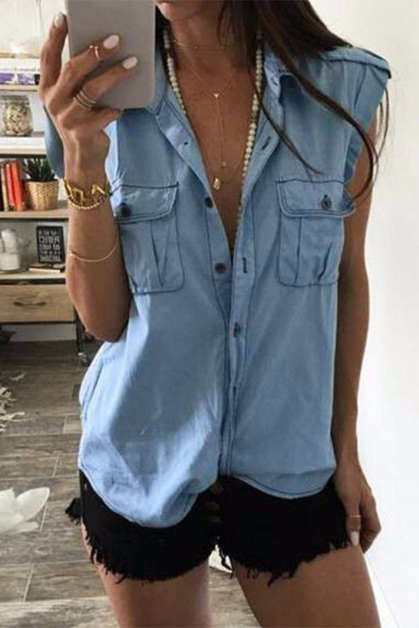 Plus Size Turndown Collar Sleeveless Denim Pocket Shirt