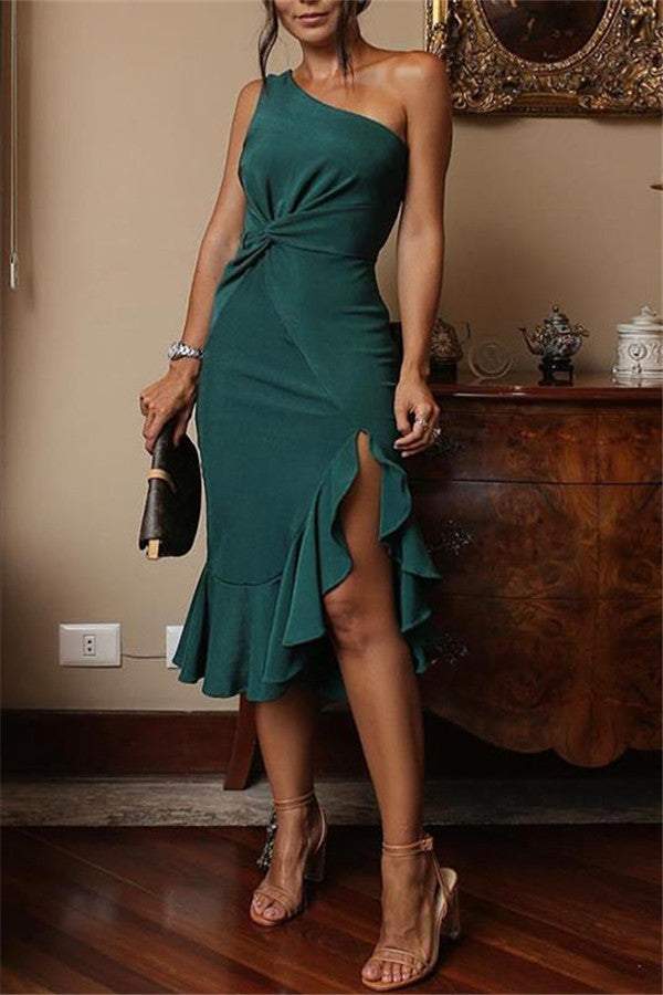Ruffle Hem One Shoulder Twisted Sheath Dress