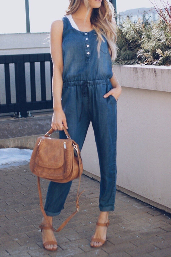 Sleeveless Round Neck Casual Pocket Denim Jumpsuit