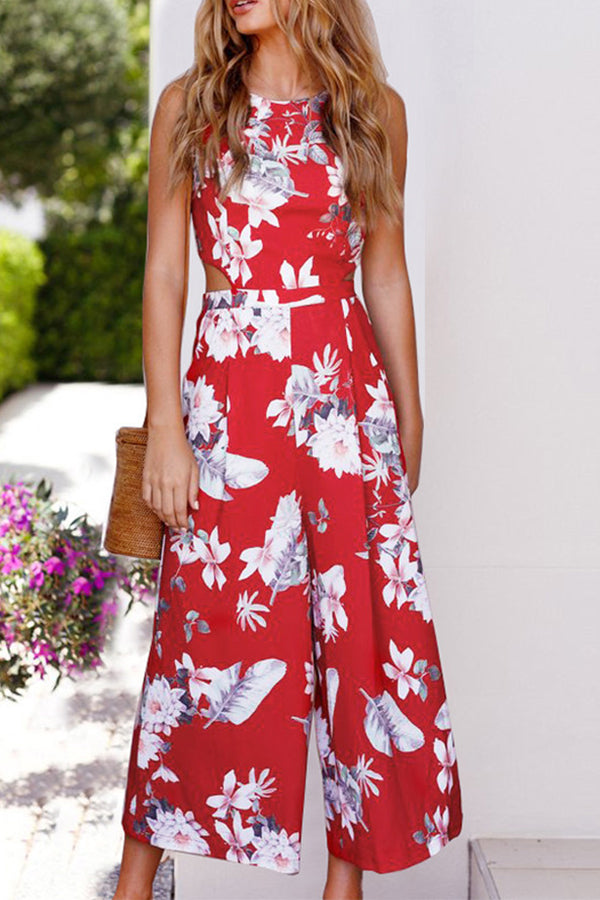 High Waist Flower Printed Sleeveless Pocket Jumpsuit