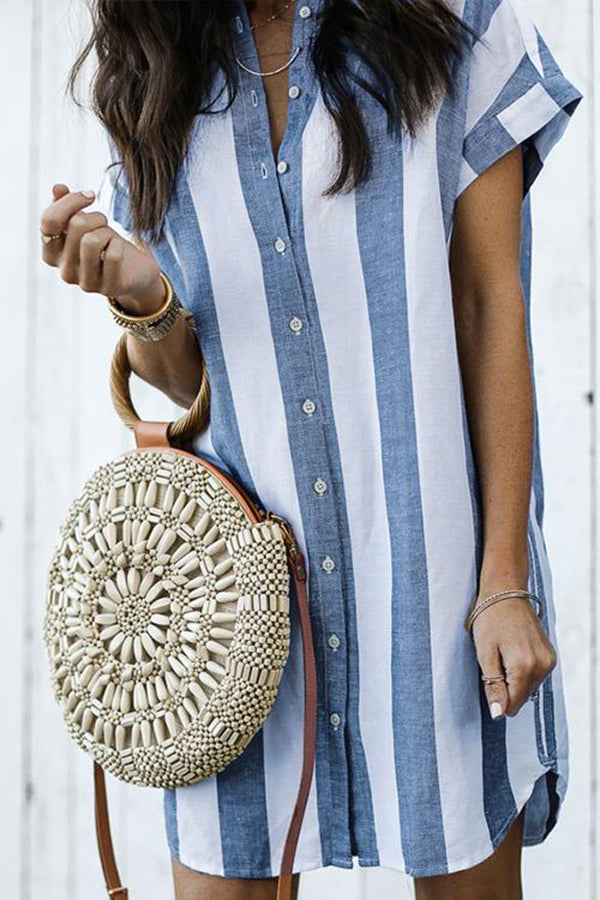 Button Short Sleeve Stripe Casual Shirt Dress