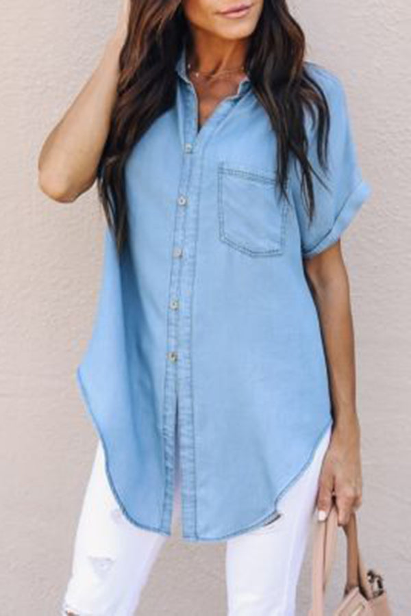 Denim Button Turndown Collar Knot Casual Shirt