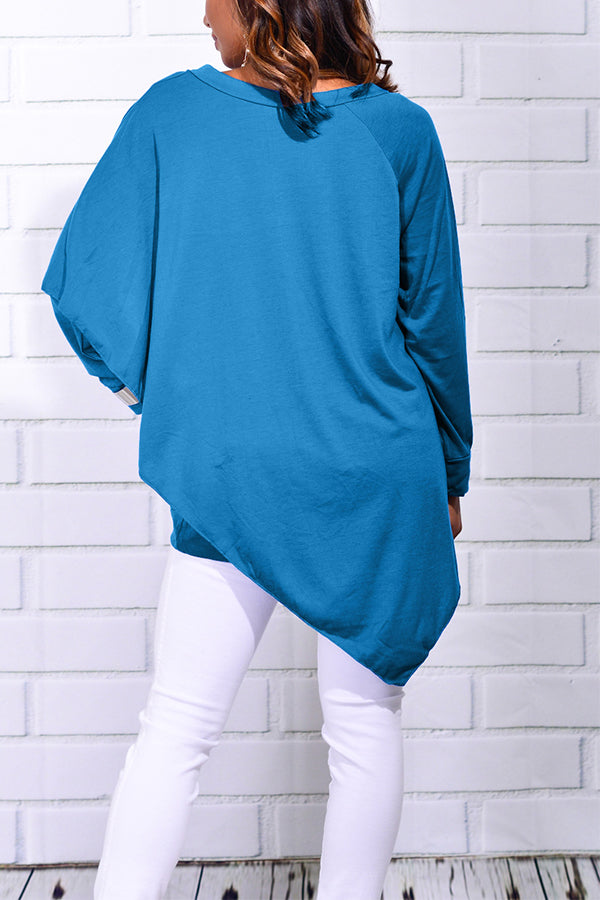 Solid Color V Neck Blouse
