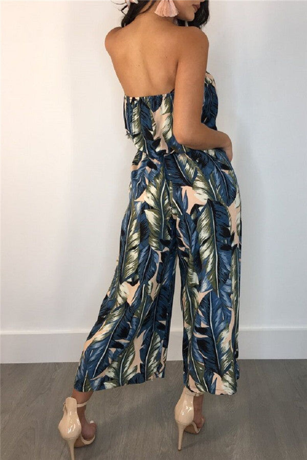 Strapless Feather Print Open Back Jumpsuit