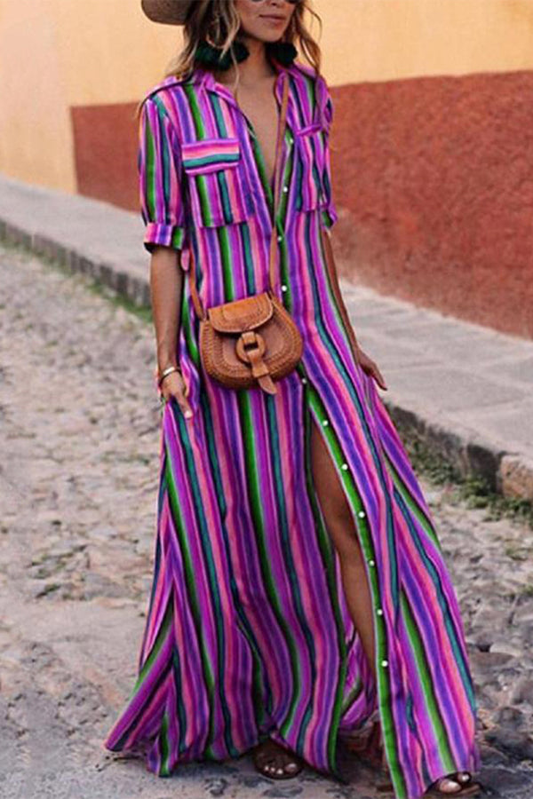 Rainbow Stripe Button Pocket Casual Plus Size T-Shirt Dress