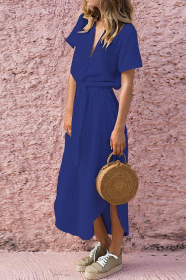 Slit Solid Color Short Sleeve Belted Asymmetric Midi Dress