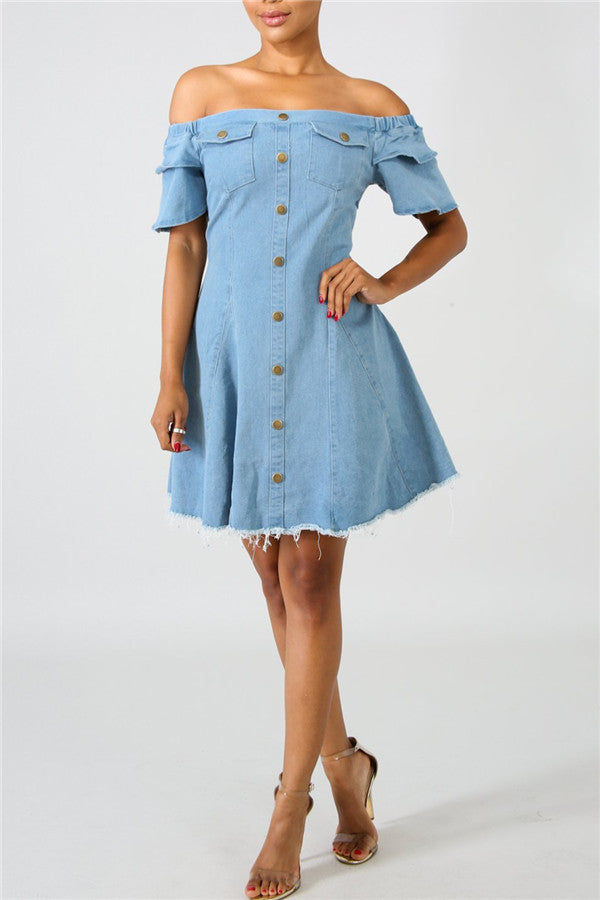 Off the Shoulder Ruffle Sleeve Denim Dress