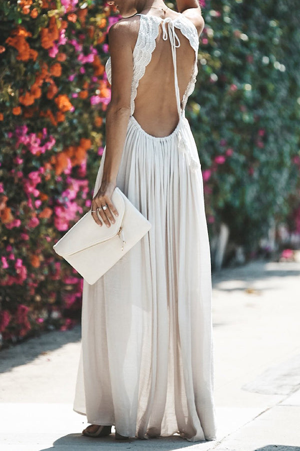 V Neck Spaghetti Straps Lace Panel Maxi Dress
