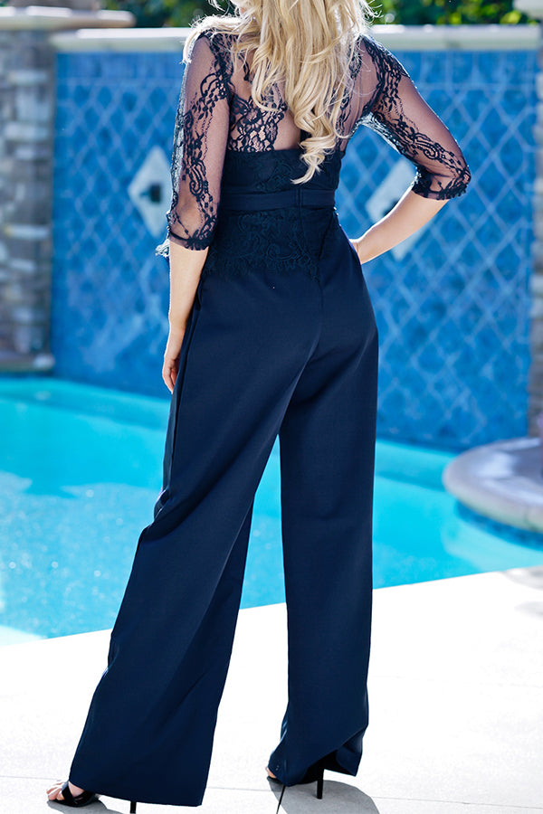 Wide Leg Lace Half Sleeve Solid Color Casual Jumpsuit