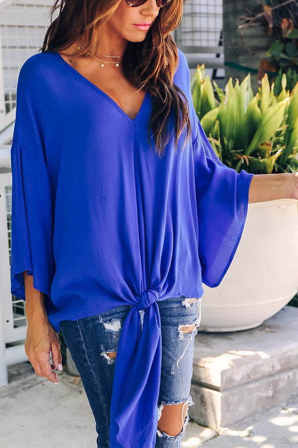 Solid Color Flare Sleeve V-neck Belted Casual Blouse