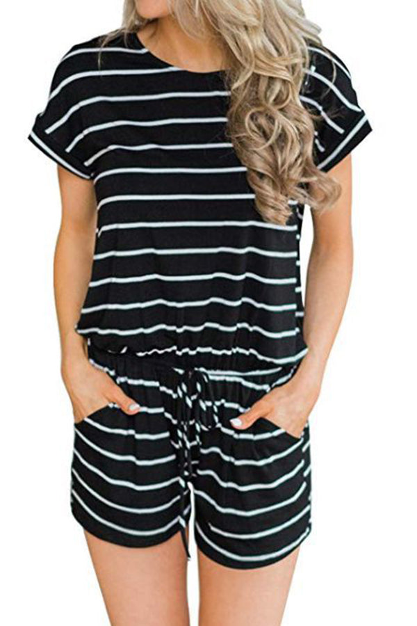 Stripe Print Round Neck Short Sleeve Pocket Romper