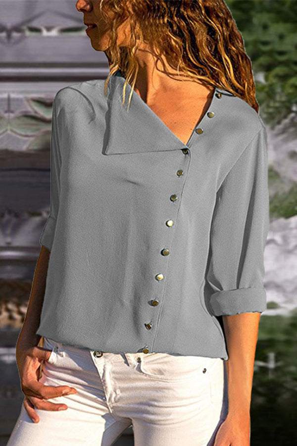 Three Quarter Sleeve Button Turndown Collar Top