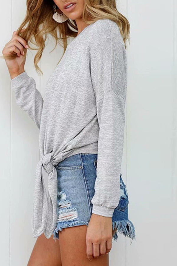 Solid Color Bandage Long Sleeve Blouse