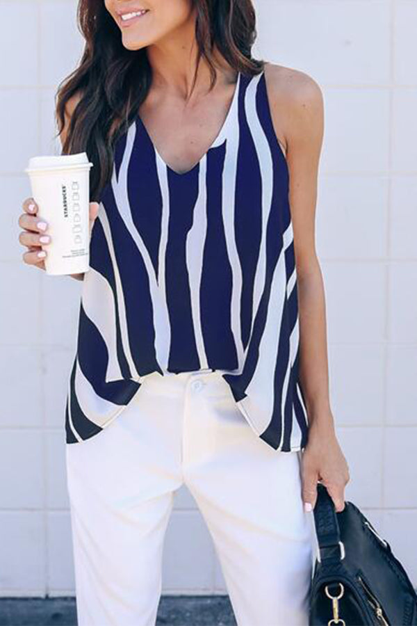 V-neck Sleeveless Stripe Printed Casual Top
