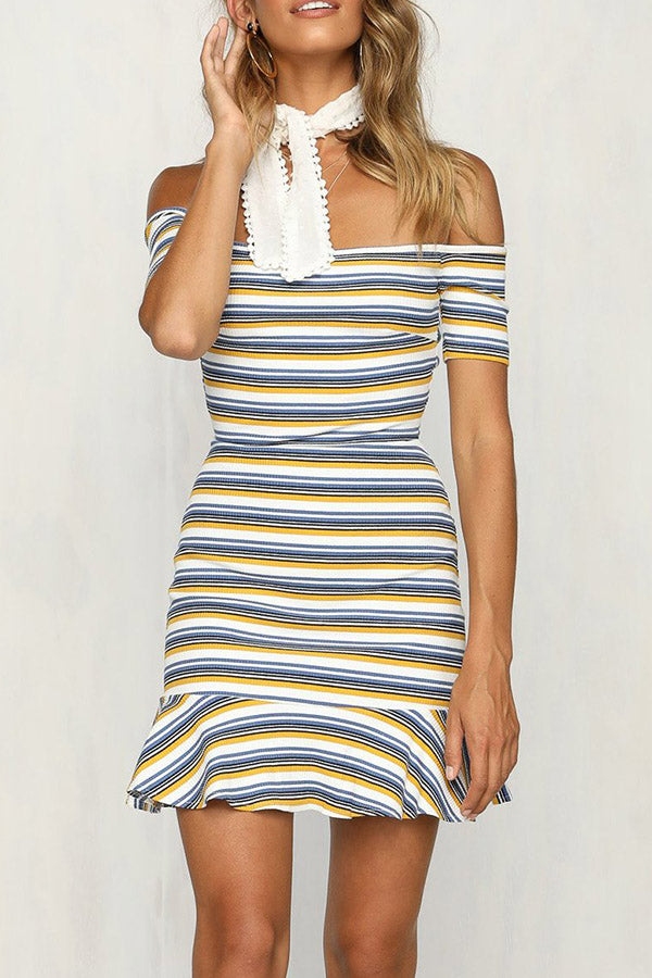 Off The Shoulder Stripe Open Back Dress