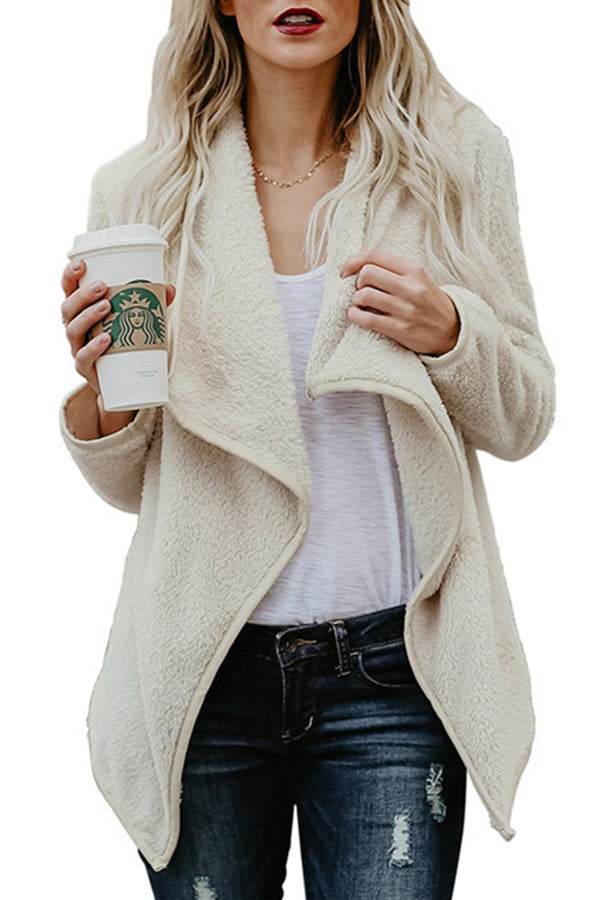Turndown Collar Irregular Hem Long Sleeve Casual Coat