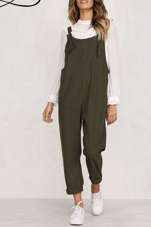 Casual Pocket Solid Color Denim Jumpsuit