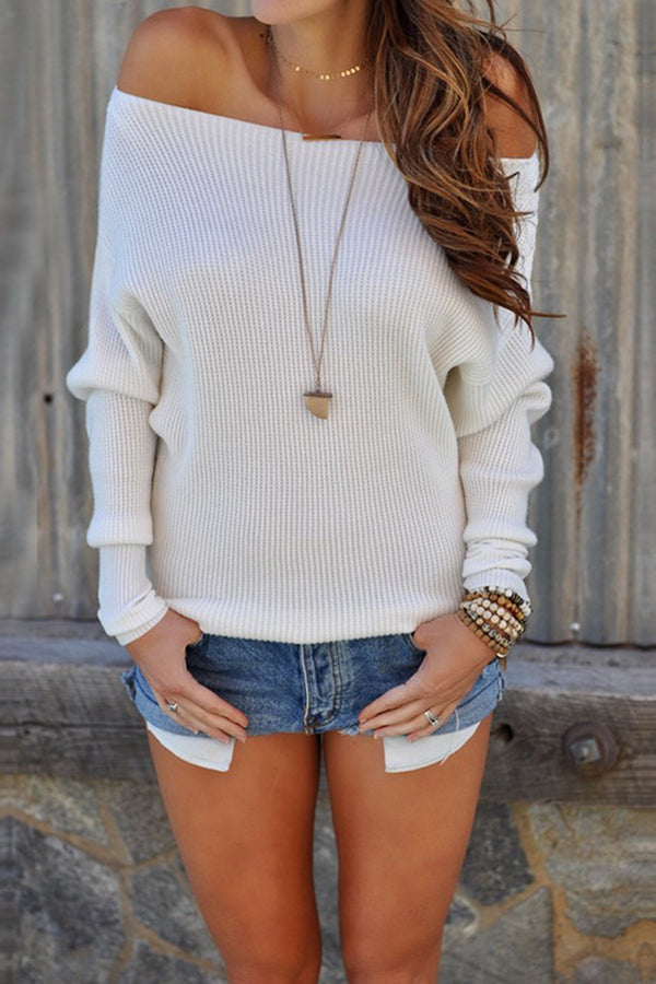 Off The Shoulder Long Sleeve Solid Color Sweater